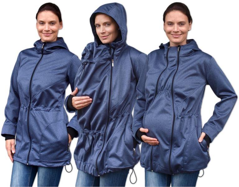 Bunda pre nosiace, tehotné - softshellová (predné nosenie) - tm. modrý melír, veľ. L/XL