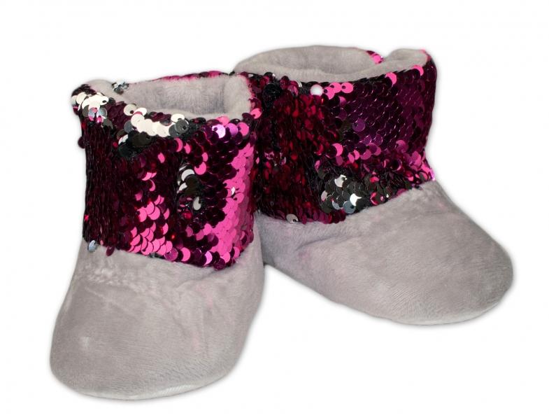 Zimné topánky/šľapky s flitryYO! - sivé, veľ. 12-18 m-12/18měsíců