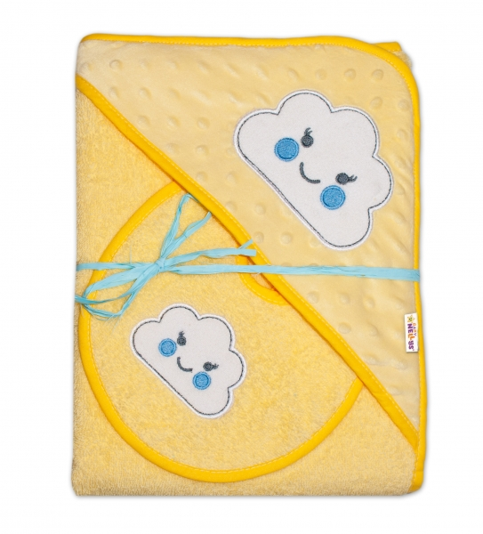 Froté osuška s kapucňou Baby Nellys® + podbradník - Mráček žltá