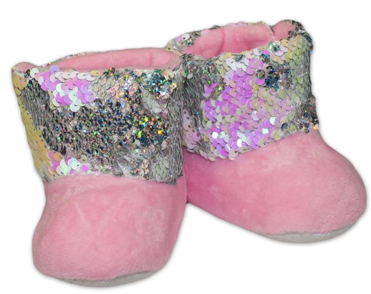 Zimné topánky/šľapky s flitryYO! - sv. ružové, veľ. 12-18 m-12/18měsíců