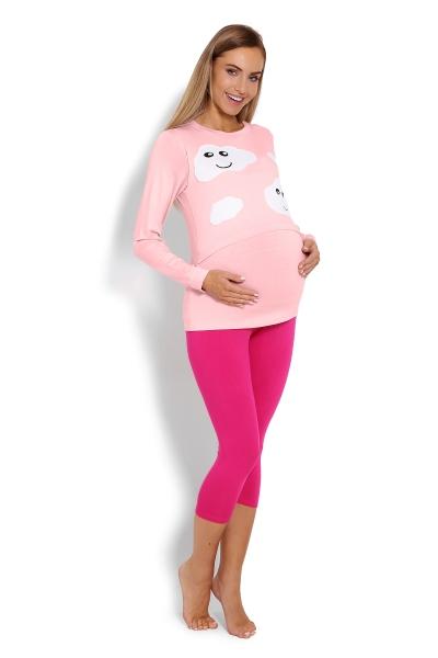 Tehotenské, dojčiace 3/4 pyžamo - mráčky - ružové