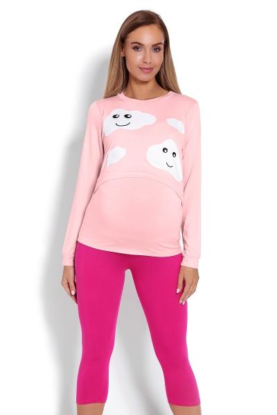 Tehotenské, dojčiace 3/4 pyžamo - mráčky - růžové, veľ. L/XL