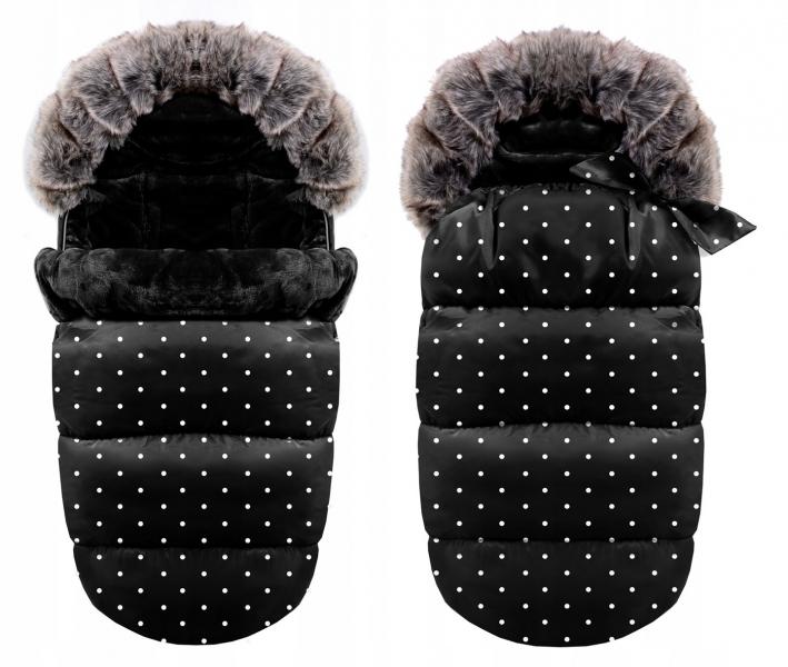Luxusný fusak s kožuškom 4v1 ICE BABY 90x50cm - čierný s bodkami