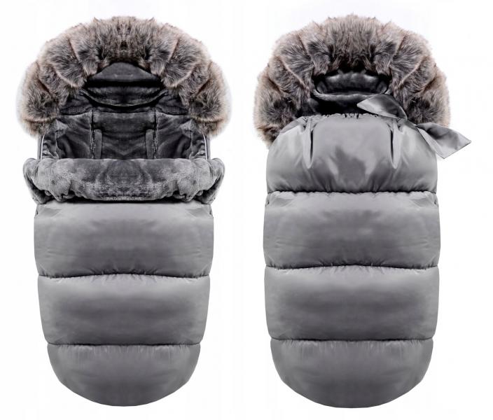 Luxusný fusak s kožuškom 4v1 ICE BABY 90x50cm - sivý