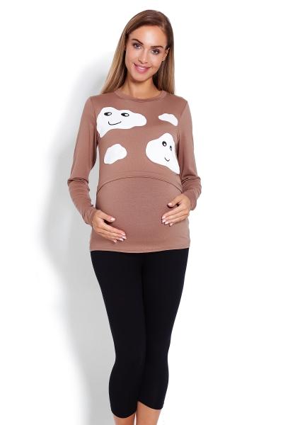 Tehotenské, dojčiace 3/4 pyžamo - mráčky - cappuccino, veľ. L/XL