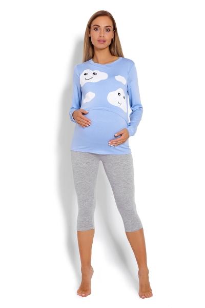 Tehotenské, dojčiace 3/4 pyžamo - mráčky - modré. veľ. L/XL