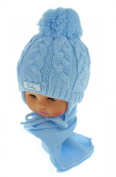 BABY NELLYS Zimná pletená čiapočka s šálom Baby Bear - modrá s brmbolcami-34/36 čepičky obvod