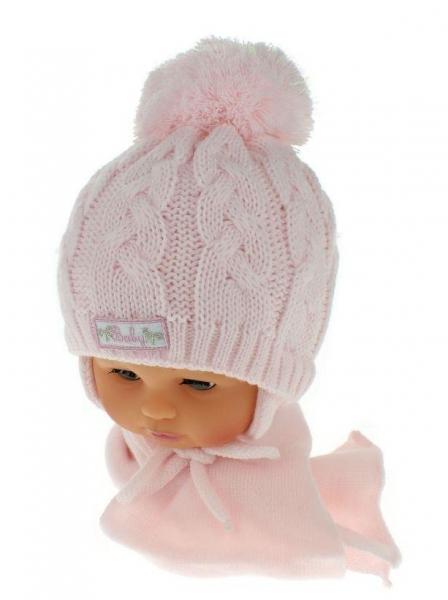 BABY NELLYS Zimná pletená čiapočka s šálom Baby Bear - ružová s brmbolcami