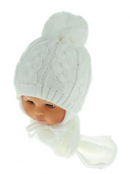 BABY NELLYS Zimná pletená čiapočka s šálom Baby Bear - biela s brmbolcami-34/36 čepičky obvod