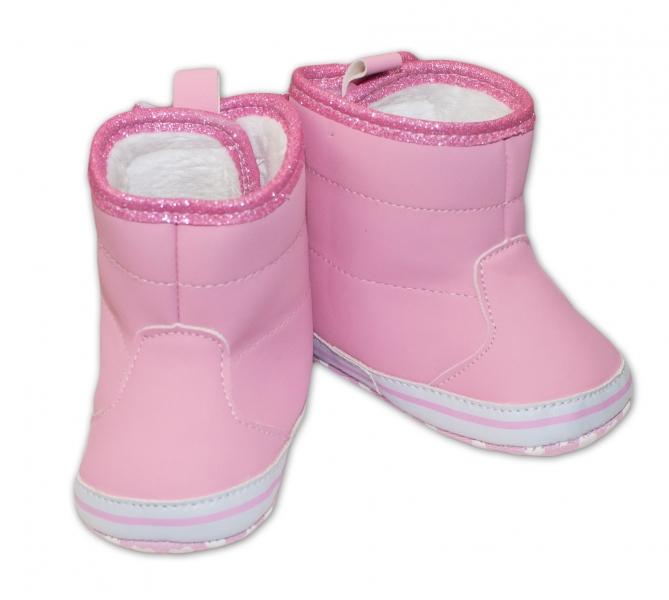 Zimné topánočky/čižmy s mašličkou YO! - ružové-0/6 měsíců
