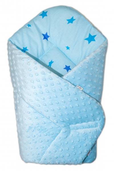 Baby Nellys  Obojstranná zavinovačka 75x75cm Minky - hviezdičky modré - sv. modrá, K19