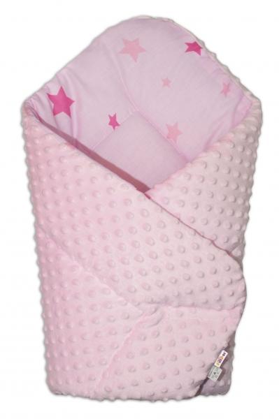 Baby Nellys  Obojstranná zavinovačka 75x75cm Minky - hviezdičky ružové - sv. ružová, K19