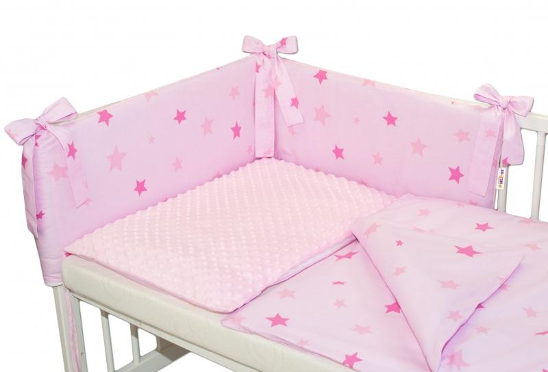 Baby Nellys 3- dielná sada mantinel s obliečkami Minky hviezdičky ružové - sv. ružová, K19