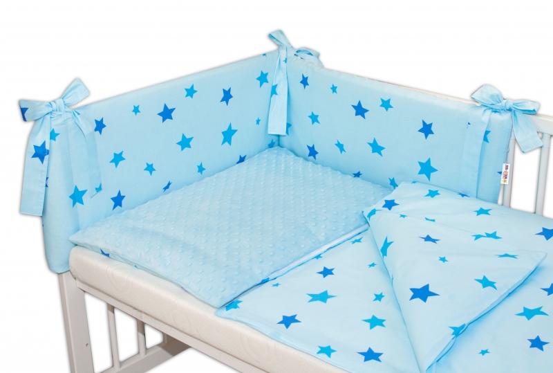 3- dielná sada mantinel s obliečkami Minky 135x100 hviezdičky modré - sv. modrá, K19