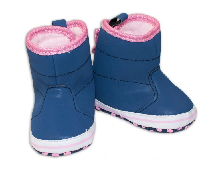 Zimné topánočky/čižmy s mašličkou YO! - granátové-0/6 měsíců