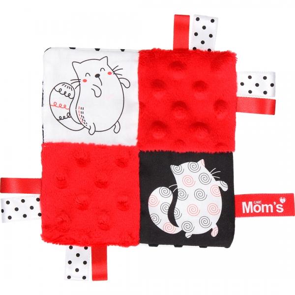 Edukačná hračka šustík - mačky, červená
