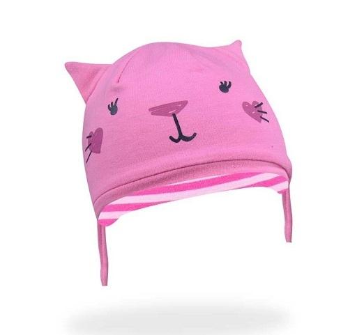YO !  Bavlnená čiapočka YO! Hela mačička - ružová - so zaväzovaním-36/38 čepičky obvod