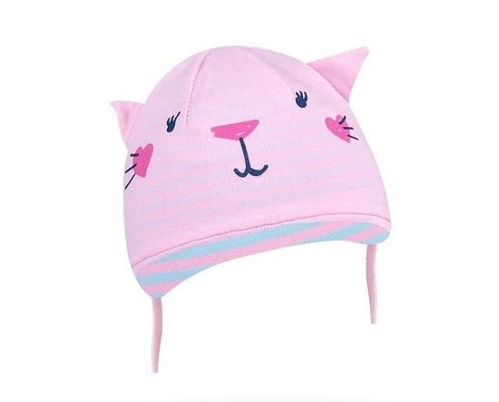 YO !  Bavlnená čiapočka YO! Hela mačička - sv. ružová - so zaväzovaním-36/38 čepičky obvod