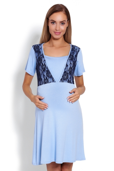 Tehotenská, dojčiaca nočná košeľa s čipkou, kr. rukáv - modrá, veľ. L/XL-L/XL