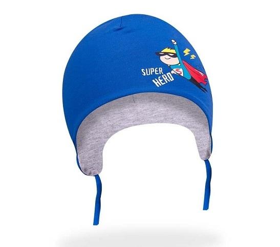 Bavlnená čiapočka YO! Small Hero - modrá - so zaväzovaním
