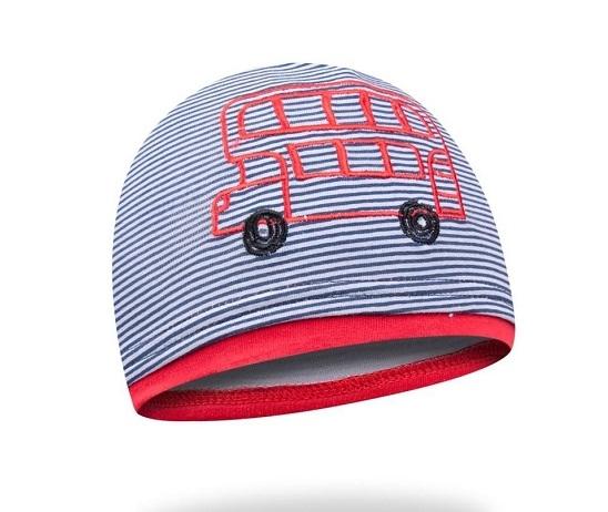 Bavlnená čiapočka YO! School bus - granátová/červená-48/50 čepičky obvod
