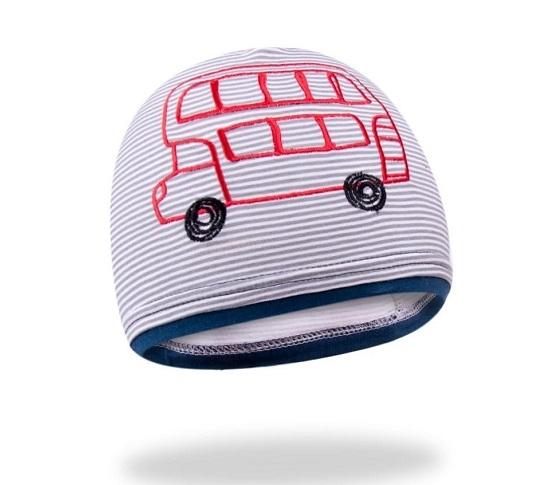 Bavlnená čiapočka YO! School bus - sivo/granátová-48/50 čepičky obvod