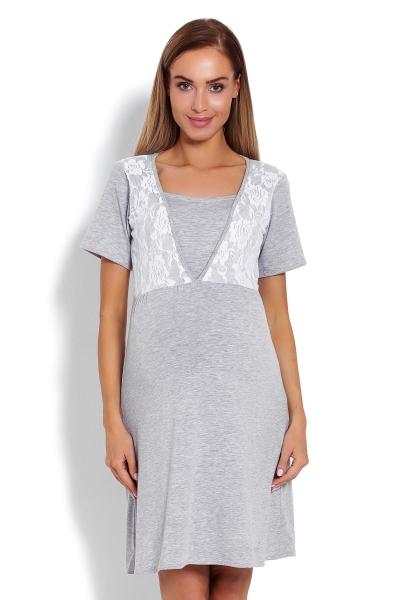 Be MaaMaa Tehotenská, dojčiaca nočná košeľa s čipkou, kr. rukáv - šedá, veľ. L/XL