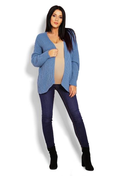 Tehotenský teplučký kardigan - modrý