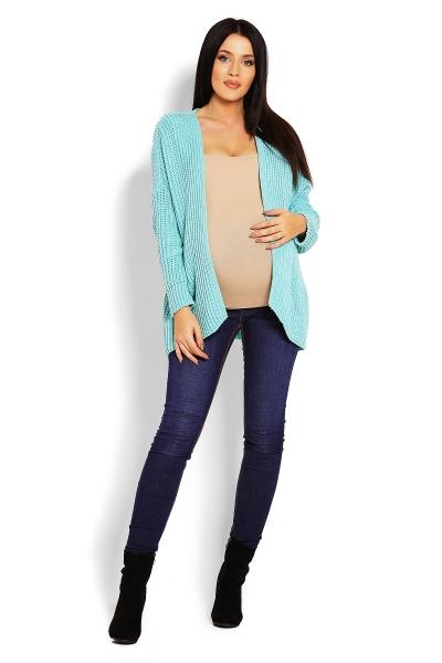 Tehotenský teplučký kardigan - mátový