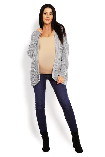Tehotenský teplučký kardigan - šedý