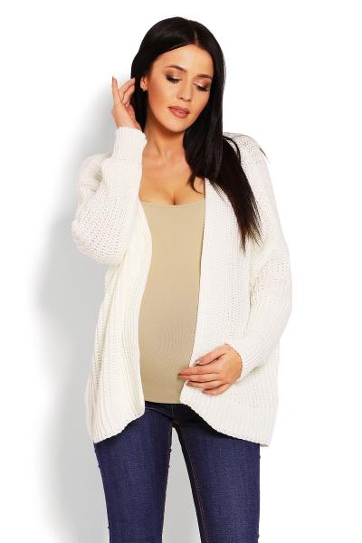 Tehotenský teplučký kardigan - krémový
