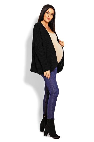 Tehotenský teplučký kardigan - čierny