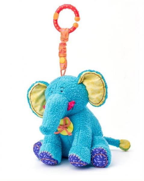 Závesná plyšová hračka s hrkálkou Sloník Kaleo