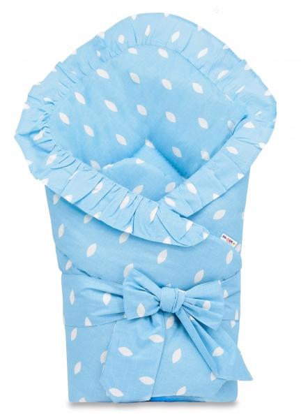 Baby Nellys  Rychlozavinovačka 80x80cm s volánkom a stuhou - lístečky modrá