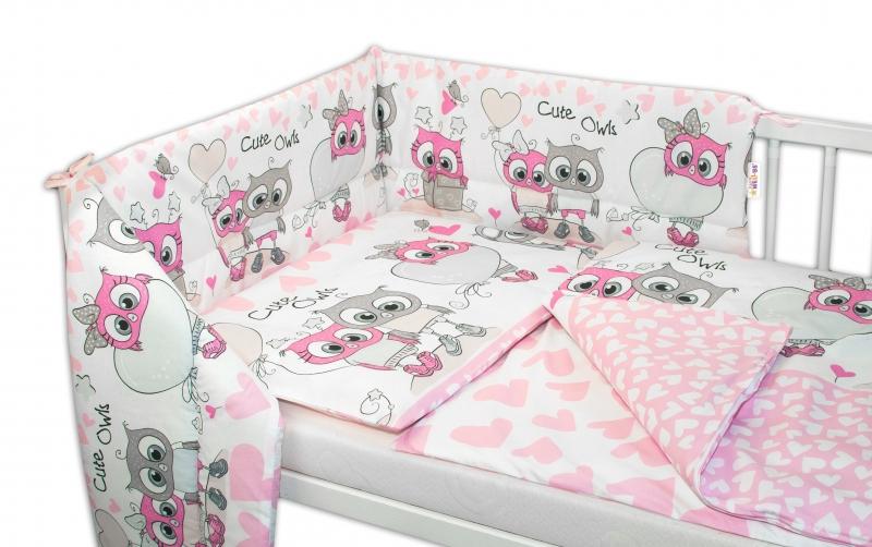 3- dielná sada mantinel s obliečkami 135x100, Cute Owls - ružová-135x100