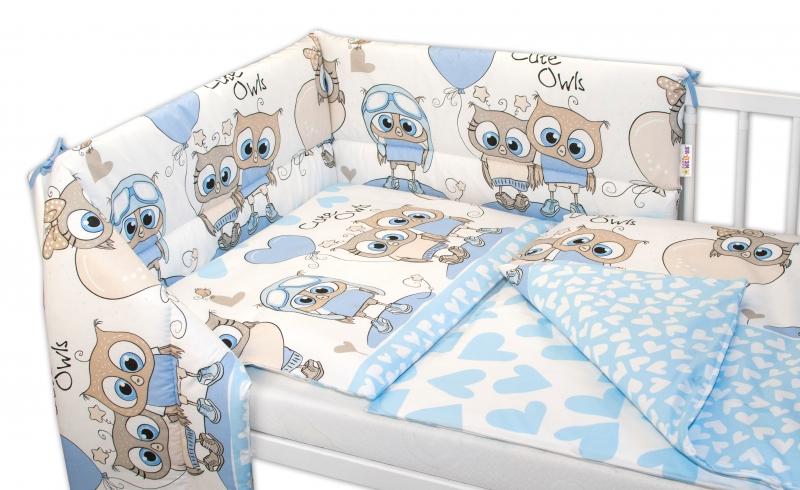 3- dielná sada mantinel s obliečkami 135x100, Cute Owls - modrá-135x100