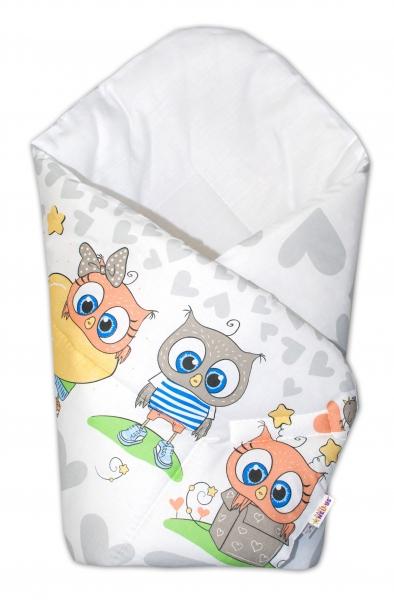Novorodenecká zavinovačka Cute Owls - sivá