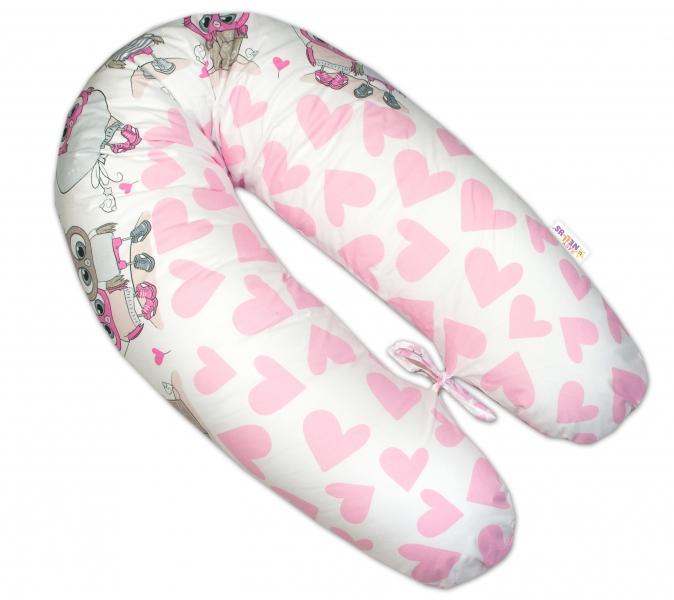 Baby Nellys Dojčiace vankúš - relaxačná poduška Multi Cute Owls - ružový