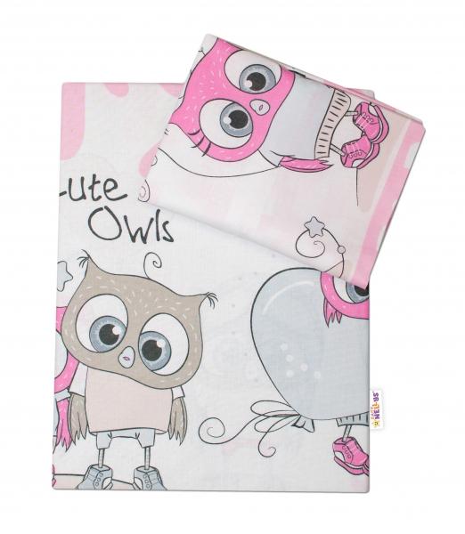 Baby Nellys 2-dielne bavlnené obliečky Cute Owls - ružová