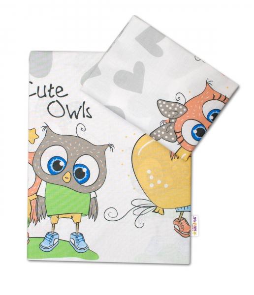 2-dielne bavlnené obliečky Cute Owls - sivá