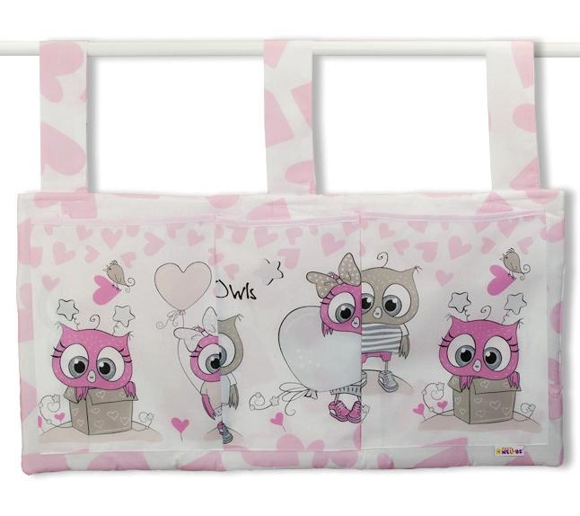 Baby Nellys  Vreckár na postieľku Cute Owls - ružový
