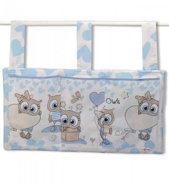 Vreckár na postieľku Cute Owls - modrý