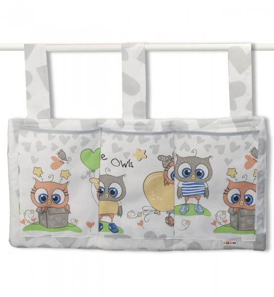 Vreckár na postieľku Cute Owls - sivý