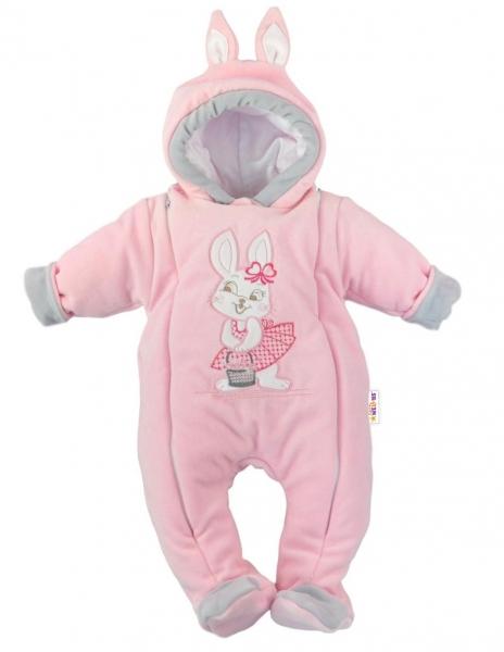 Baby Nellys Oteplený overal / kombinéza s uškami, vel. 68 - Little Bunny, sv. ružový