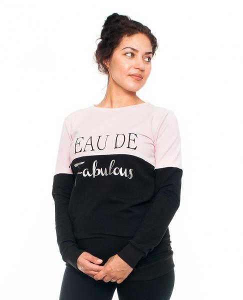 Tehotenské a dojčiace tričko/mikina Fabulous, dlhý rukáv, čierno-ružová