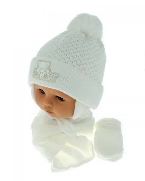 Sada - čiapočka, šál a rukavičky Macko - biely (biela výšivka)