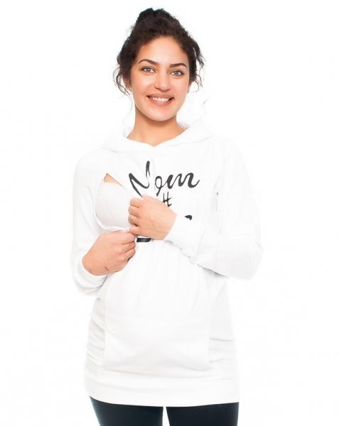 Tehotenské a dojčiace tričko/mikina Mom Boss, dlhý rukáv, biele