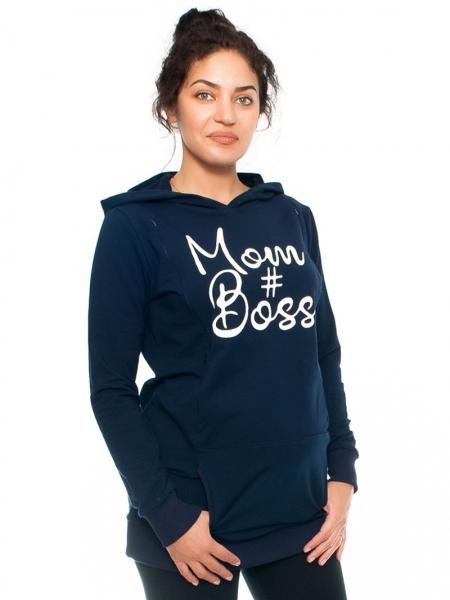 Be MaaMaa Tehotenské a dojčiace triko/mikina Mom Boss, dlhý rukáv, granat, veľ. S