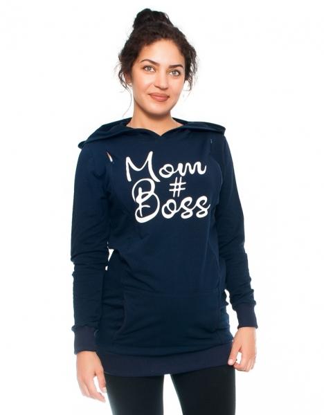 Be MaaMaa Tehotenské a dojčiace triko/mikina Mom Boss, dlhý rukáv, granat, veľ. L