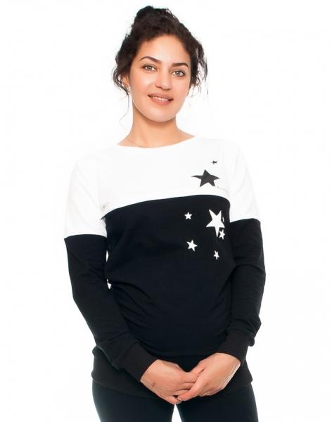 Be MaaMaa Tehotenské a dojčiace triko/mikina Stars, dlhý rukáv, čierno-biela-XS (32-34)
